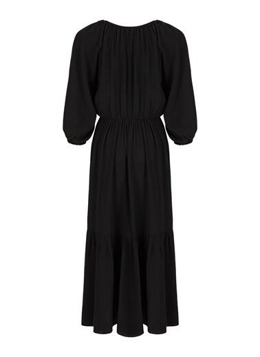 Nocturne Büzgülü Midi Boy Elbise Siyah